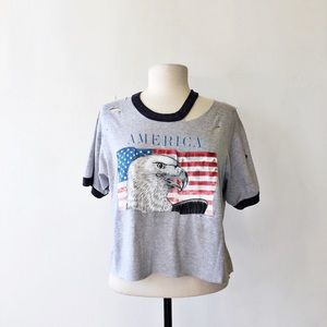 Vintage Distressed Cropped 1984 Eagle Flag T-Shirt